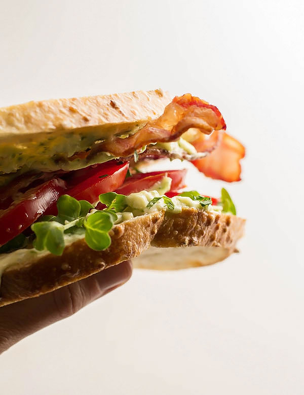 Heirloom Marinated Tomato BLT with Clean, Homemade 1 minute Basil Garlic Mayonnaise. Made with 5 ingredients you already have in your pantry!