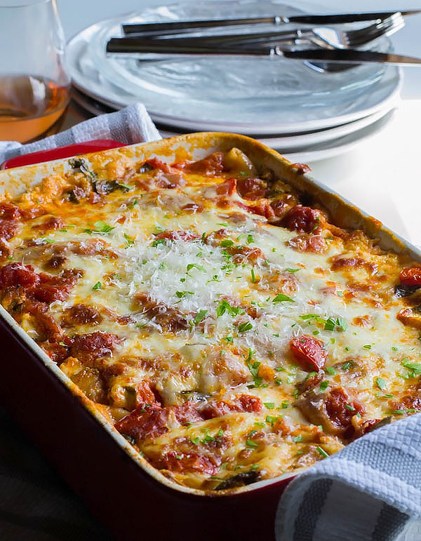 Extra Cheesy Zucchini Lasagna with Spicy Sausage. A fast, easy and delicious recipe from OneSimpleFeast