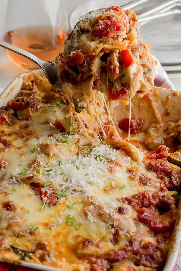 Extra Cheesy Zucchini Lasagna with Spicy Sausage